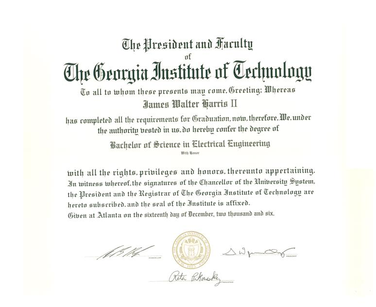 Master of science in electrical and computer engineering degree